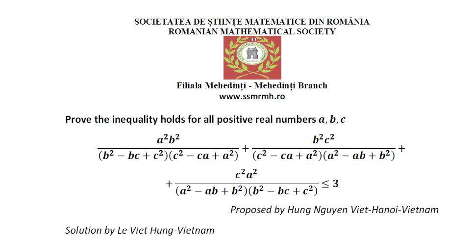 Cyclic Inequality 45 Romanian Mathematical Magazine
